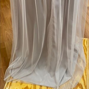 Dessy Collection Dresses - Taupe full length strapless bridesmaid dress